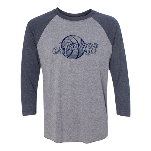 University of Michigan Basketball Vignette Next Level Raglan T Shirt - Premium Heather / Vintage Navy