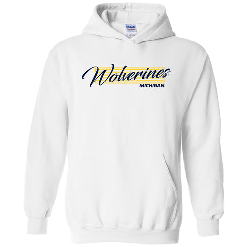 University of Michigan Wolverines Screen Play Heavy Blend Hoodie - White