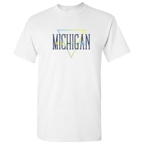 University of Michigan Wolverines Gradient Triangle Basic Cotton Short Sleeve T Shirt - White