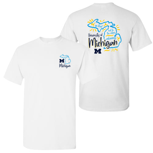 University of Michigan Wolverines Playful Sketch Basic Cotton Short Sleeve T Shirt - White