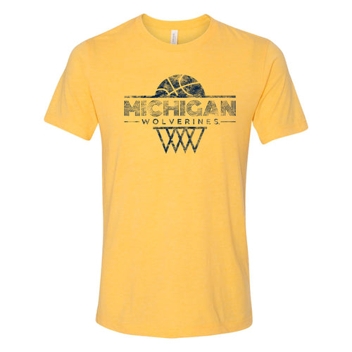 University of Michigan Wolverines Oblique Hoop Canvas Triblend Short Sleeve T-Shirt - Yellow Gold