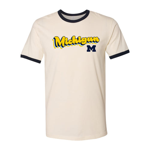 University of Michigan Wolverines Groovy Script Logo Ringer T Shirt - Natural/Midnight Navy
