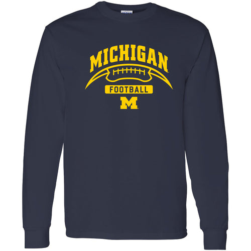 University of Michigan Wolverines Football Crescent  Basic Cotton Long Sleeve T Shirt - Navy