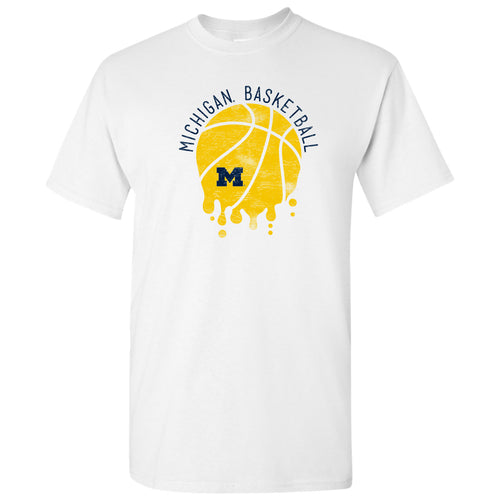 University of Michigan Basketball Dribble Basic Cotton Short Sleeve T Shirt - White