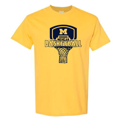 Basketball Board Michigan Basic Cotton Short Sleeve T Shirt - Maize