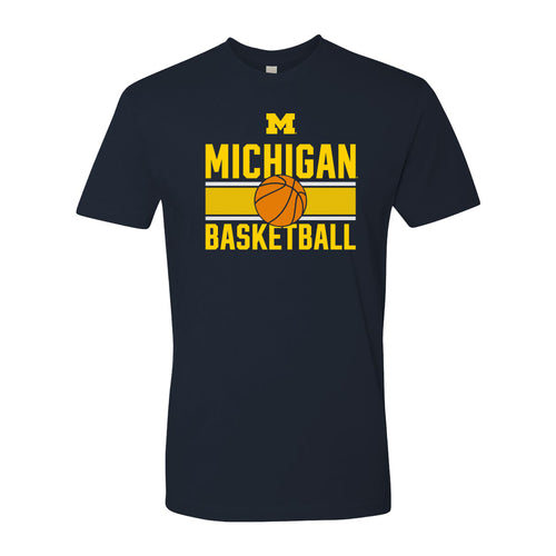 Michigan Wolverines Basketball Mesh NLA Short Sleeve T Shirt - Midnight Navy