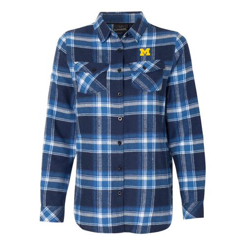 Block M EMB Ladies Plaid Flannel Shirt - Blue/White