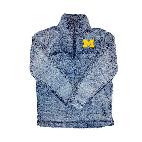 Primary Logo University of Michigan Women's Sherpa Quarter Zip - Vintage Navy