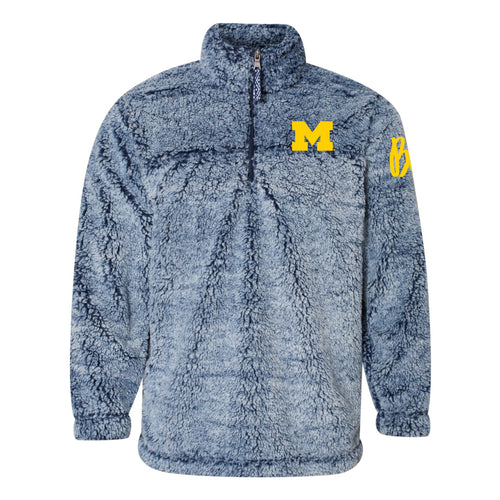 Bo Schembechler Signature University of Michigan Block M Women's Sherpa Quarter Zip - Vintage Navy