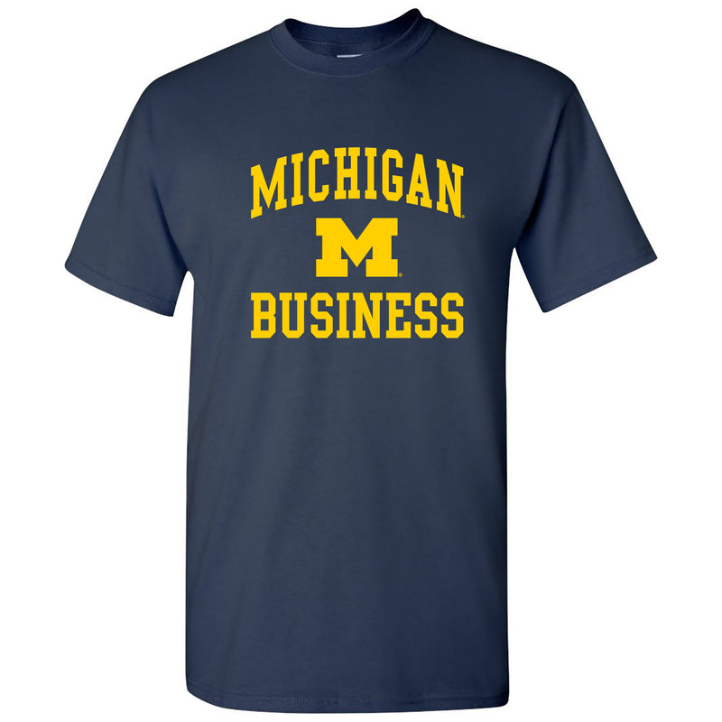 Arch Logo Business University of Michigan Basic Cotton Short Sleeve T-Shirt - Navy