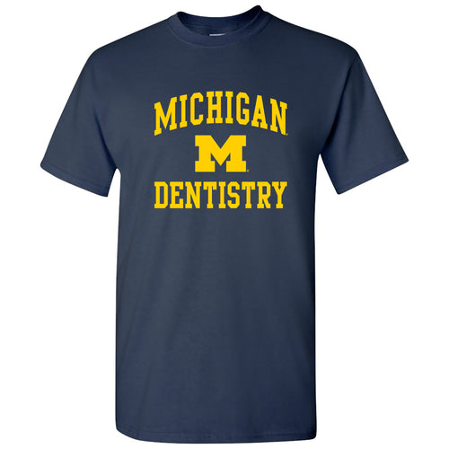 Arch Logo Dentistry University of Michigan Basic Cotton Short Sleeve T-Shirt - Navy