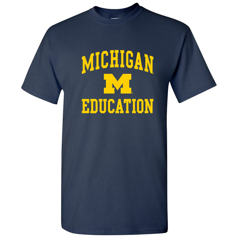 Arch Logo Education University of Michigan Basic Cotton Short Sleeve T-Shirt - Navy