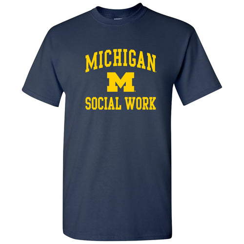 Arch Logo Social Work University of Michigan Basic Cotton Short Sleeve T-Shirt - Navy