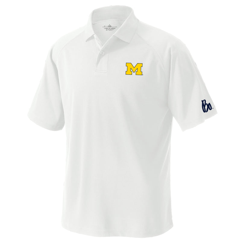 Block M Outline Bo Sig Michigan Wolverines Charles River Classic Wicking Polo - White