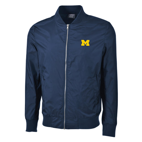 Embroidered Primary Logo University of Michigan Charles River Boston Flight Jacket - Navy