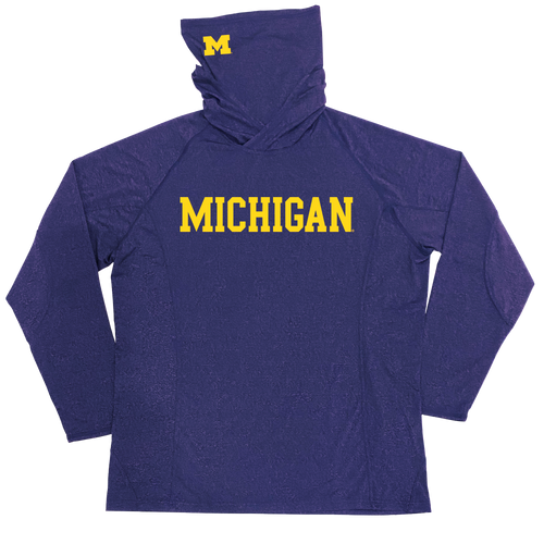 Michigan Hoodie Mask Adult Longsleeve Performance Shirt - Navy