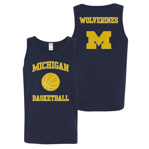 University of Michigan Wolverines Basketball Arch Front Back Jersey Tank Top - Navy