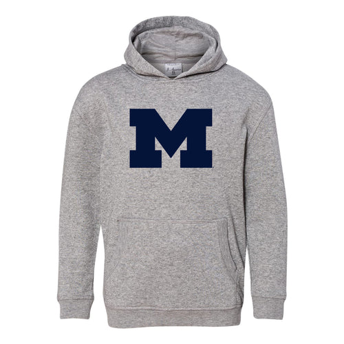 Primary Logo University of Michigan J America Youth Glitter Hoodie - Oxford/Silver