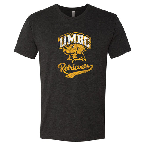 University of Maryland Baltimore County Retrievers Retro Script Next Level Short Sleeve T Shirt - Vintage Black