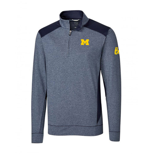 Block M Bo Sig University of Michigan Cutter and Buck Shoreline Quarter Zip - Liberty Navy Heather
