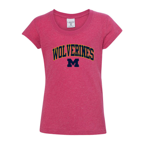 Arch Logo Outline University of Michigan J America Youth Glitter Short Sleeve Tee - Wildberry/Silver