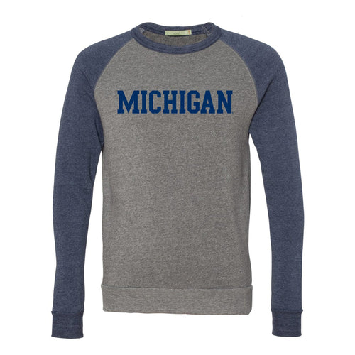 Basic Block University of Michigan Alternative Apparel Colorblock Raglan Crew - Eco Grey/Navy
