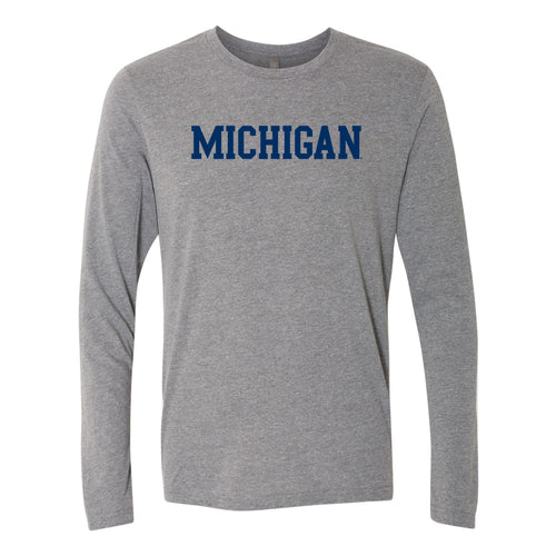 Basic Block University of Michigan Next Level Triblend Long Sleeve - Premium Heather