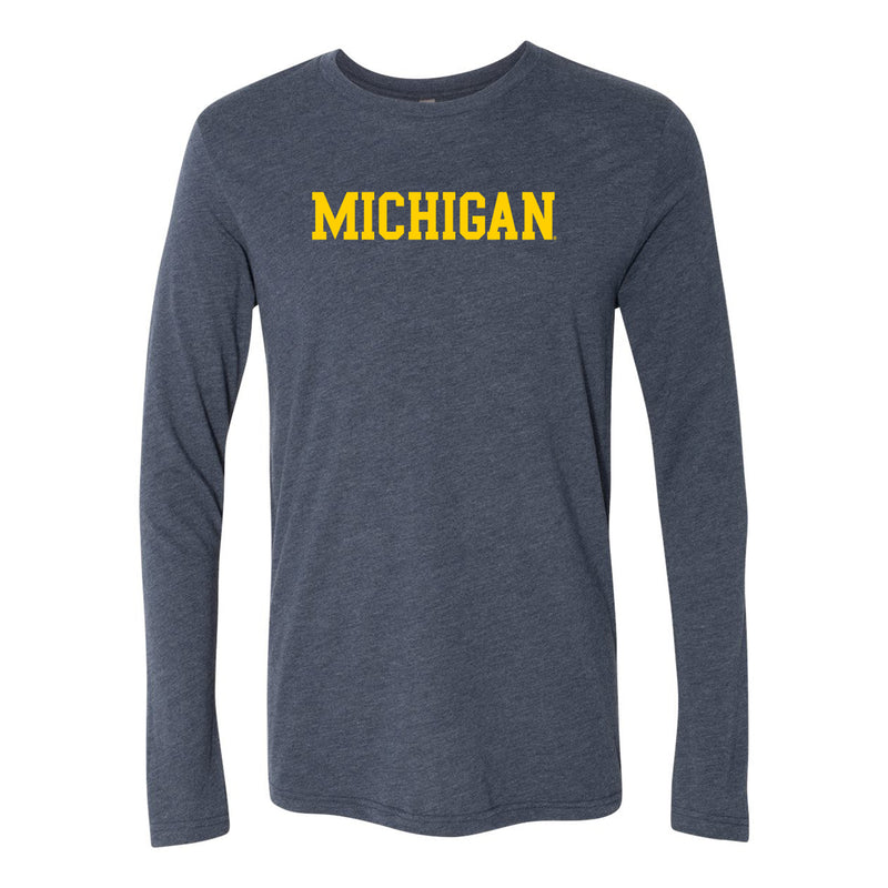 Basic Block University of Michigan Next Level Triblend Long Sleeve - Vintage Navy