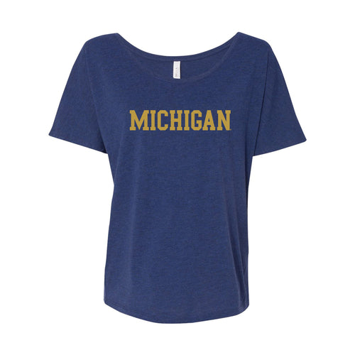 Block Michigan Gold Foil Womens Slouchy Tee - Navy Triblend