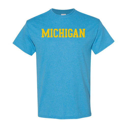 Basic Block University of Michigan Basic Short Sleeve T Shirt - Heather Sapphire