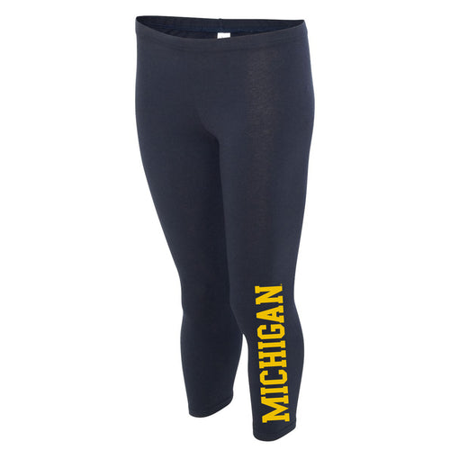 Basic Block University of Michigan Boxercraft Women's Leggings - Navy