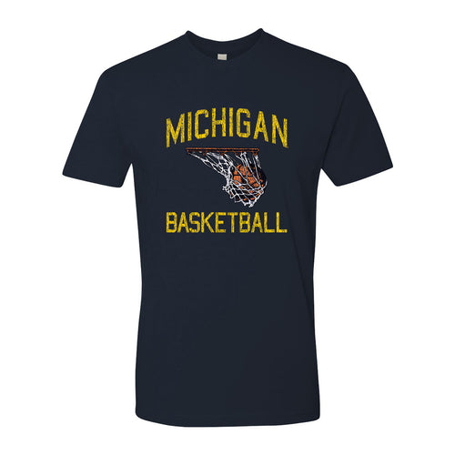 Retro Faded Basketball University of Michigan Premium Cotton Short Sleeve T Shirt - Midnight Navy