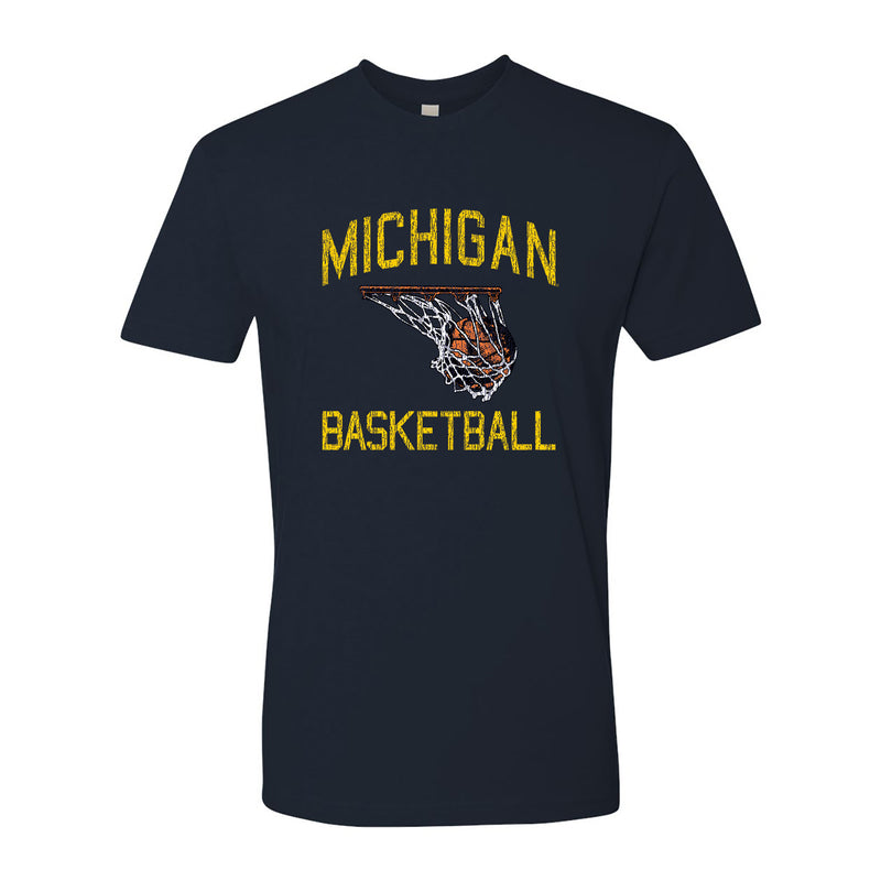 Retro Faded Basketball University of Michigan Basic Cotton Short Sleeve T Shirt - Navy