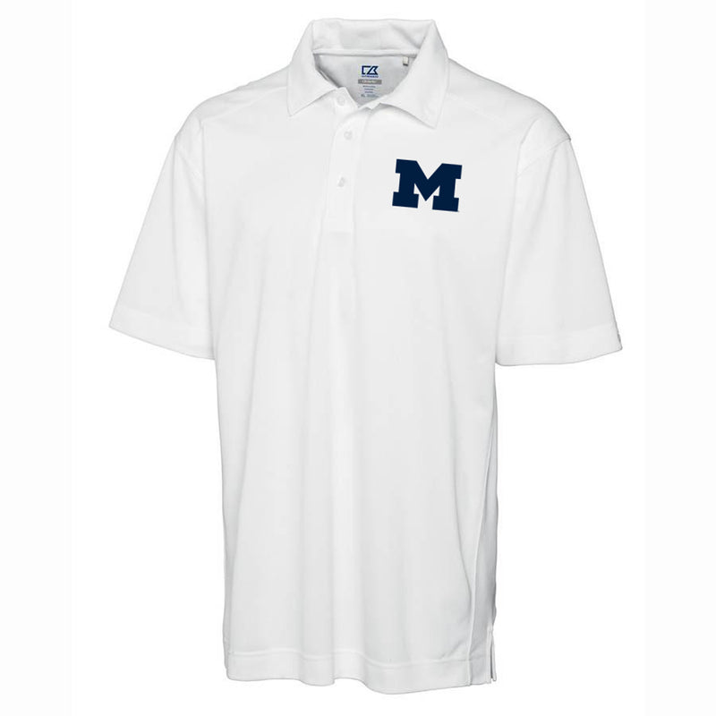 Block M Primary Logo University of Michigan Cutter & Buck Drytec Polo - White