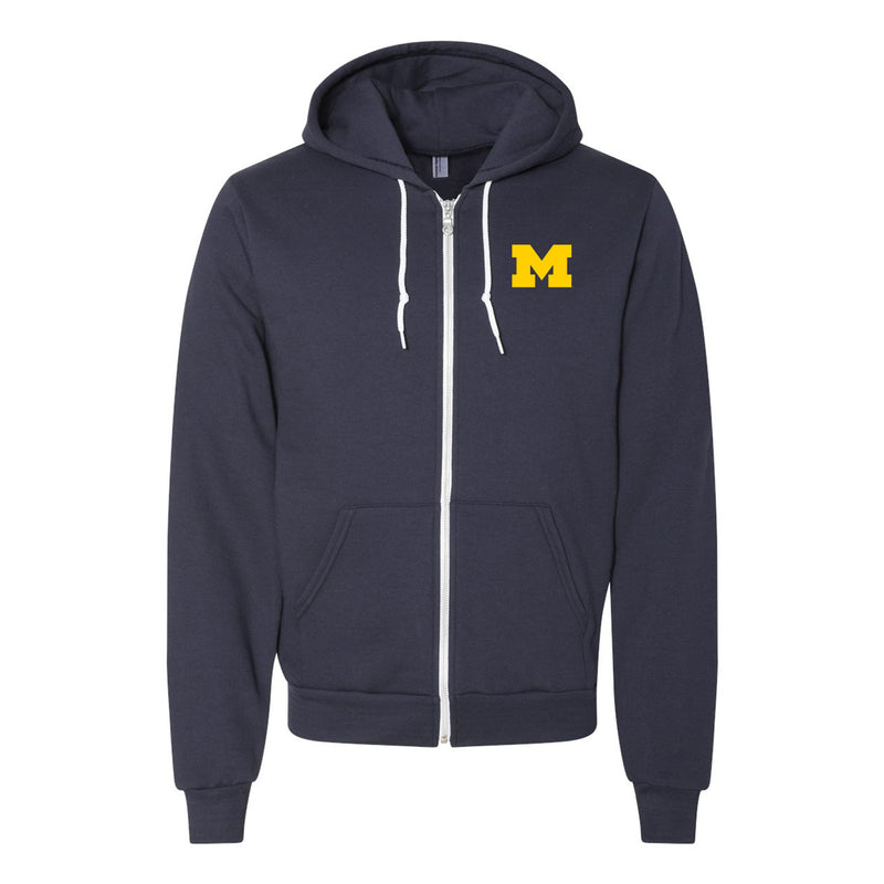 Primary Logo University of Michigan American Apparel Flex Fleece Full Zip Hoodie - Navy