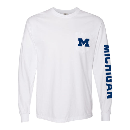 Left Chest and Sleeve University of Michigan Comfort Colors Long Sleeve Pocket Long Sleeves - White