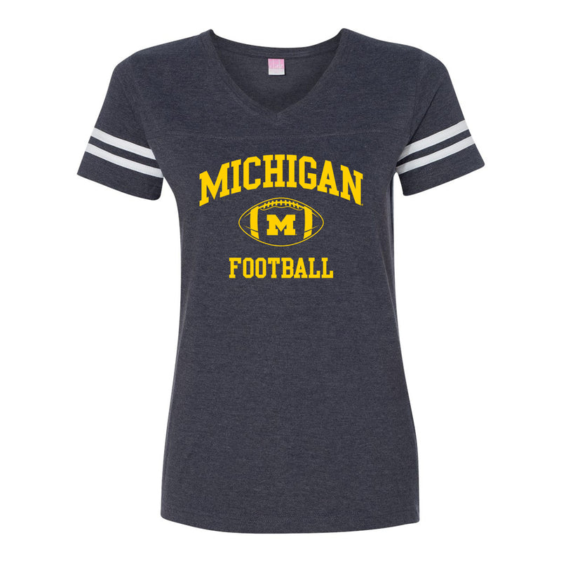 Classic Football Arch University of Michigan LAT Womens Jersey T Shirt - Vintage Navy/White