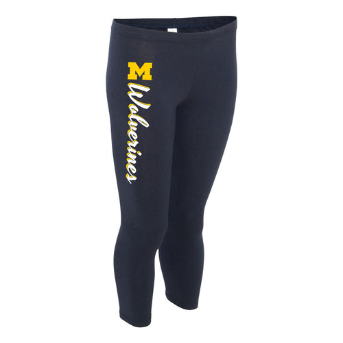 Wolverines Script University of Michigan Boxercraft Women's Leggings - Navy