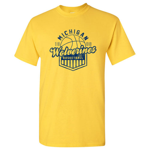 Basketball Shield University of Michigan Basic Cotton Short Sleeve T-Shirt - Maize