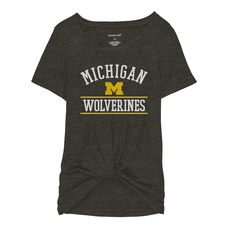Mesh Arch University of Michigan Boxercraft Girls Twisted Tee - Charcoal