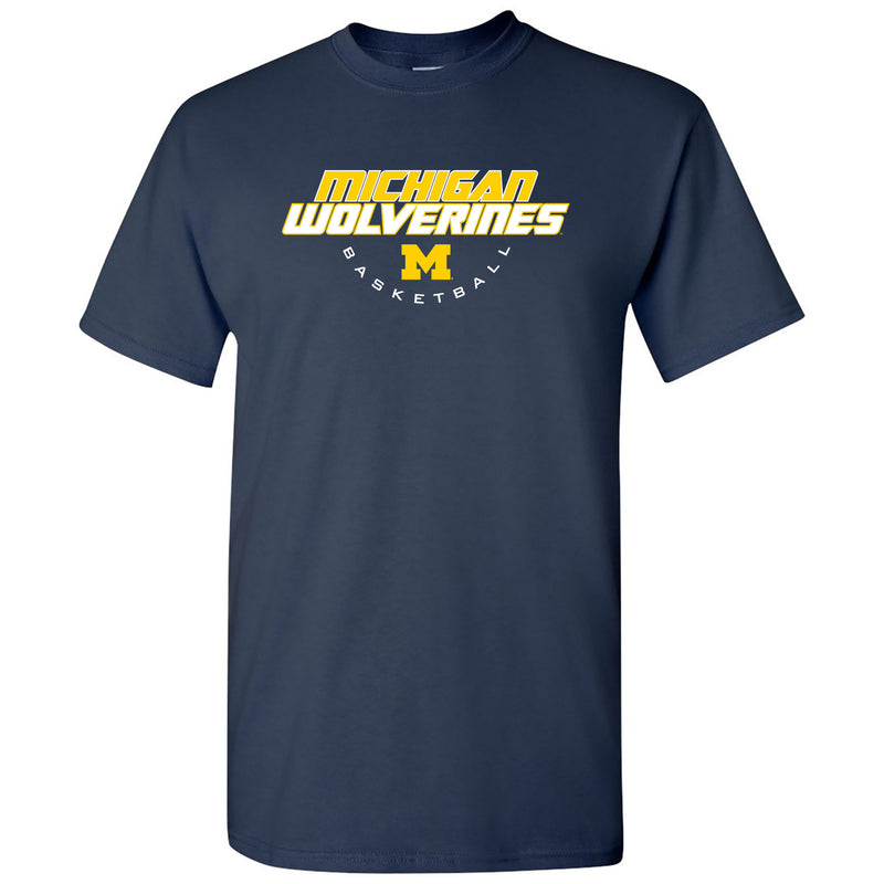 Basketball Tech University of Michigan Basic Cotton Short Sleeve T Shirt - Navy