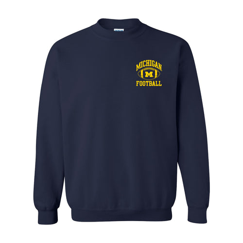 Classic Football Arch Left Chest University of Michigan Basic Cotton Crewneck Sweatshirt - Navy