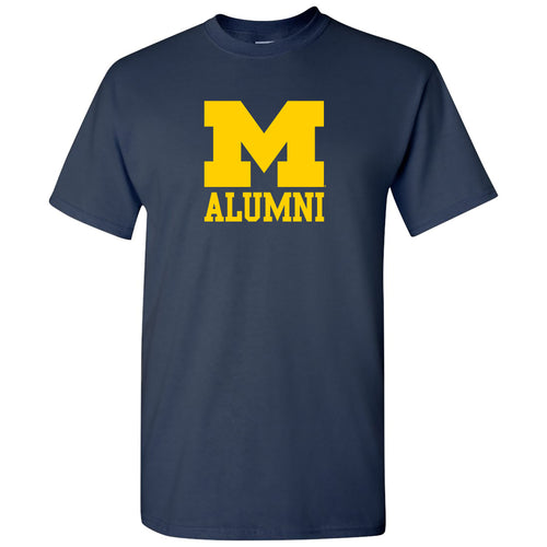 Primary Alumni University of Michigan Wolverines Basic Cotton Short Sleeve T Shirt - Navy