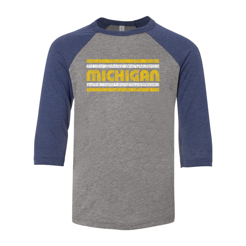 Retro Underline University of Michigan Canvas Youth Raglan - Grey/Navy Triblend