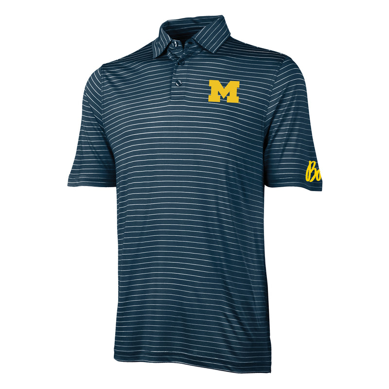 Block M Bo Sig Michigan Wolverines Charles River Wellesley Polo - Navy/White Stripe