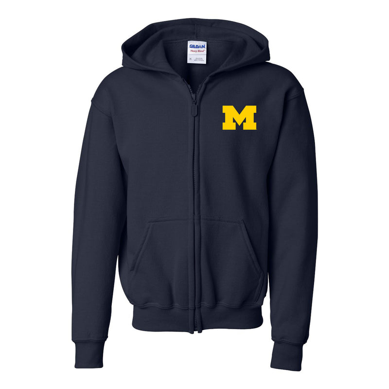 Block M University of Michigan Heavy Blend Youth Full Zip Hooded Sweatshirt - Navy