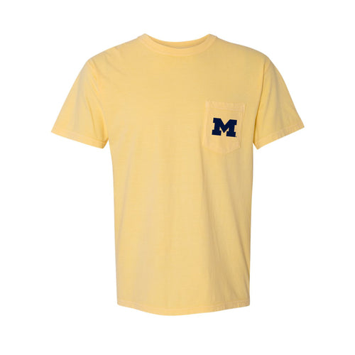 Primary Logo University of Michigan Comfort Colors Pocket T Shirt - Butter