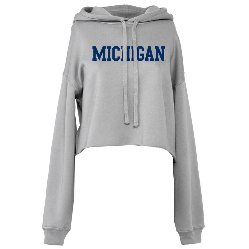 Basic Block University of Michigan Bella Crop Hoodie - Storm