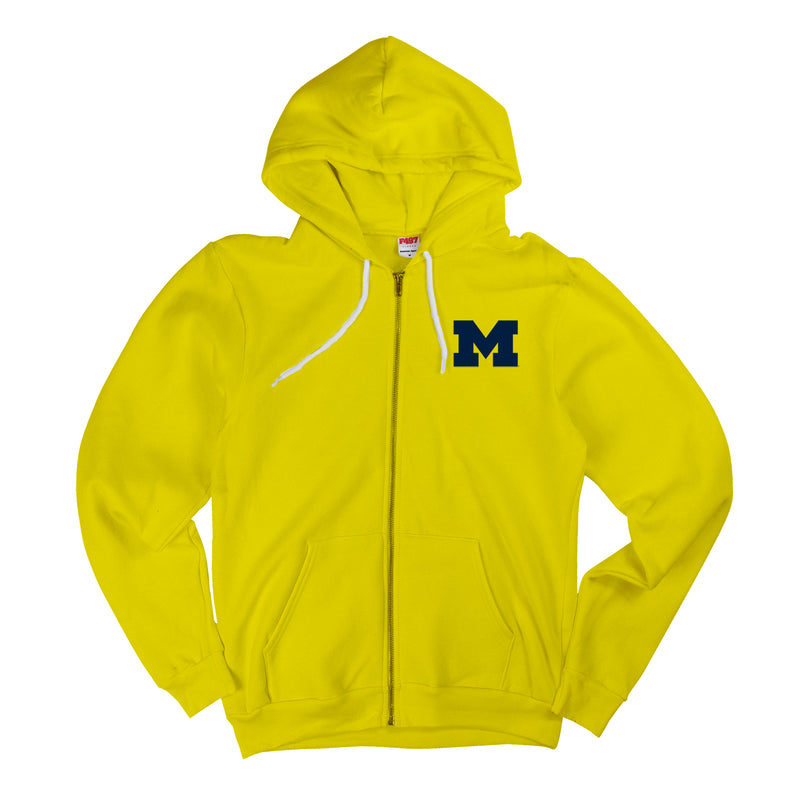 Primary Logo University of Michigan American Apparel Flex Fleece Full Zip Hoodie - Sunshine