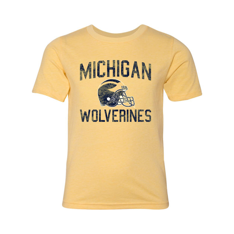 Faded Helmet University of Michigan Next Level Youth Short Sleeve Tee - Banana Cream